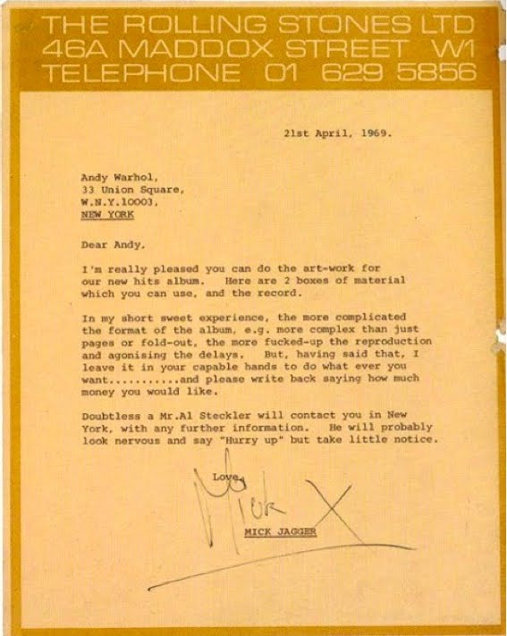 Mick Jagger's Andy Warhol Brief for Stick Fingers Cover